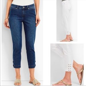 Talbots Flawless Five Pocket Lace Up Crop Jeans